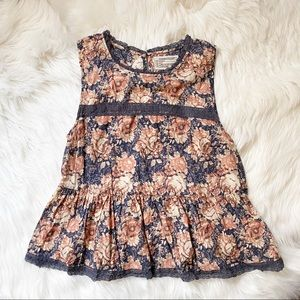 CURRENT/ELLIOTT FLORAL PEPLUM LACE TANK TOP SHIRT